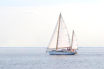 white sail yacht sailing. Riga, Latvia