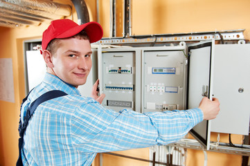 Electrician checking data