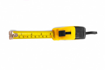 instrument measuring measuring tape on white background