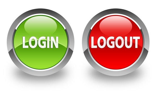 """Login / Logout"" glossy button"