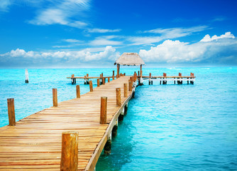 Vacation in Tropic Paradise. Jetty on Isla Mujeres, Mexico Wall mural