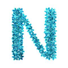 alphabet made of blue craft sequins