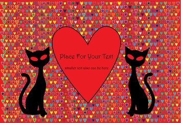 valentine vector background with two cats in silhouette