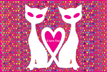vector valentine background with couple of cats in silhouette
