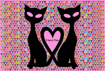 vector valentine card with two cats isolated on color background