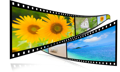 3D film strip images, sea and sky.