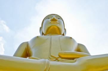 Beautiful buddha statue with white sky