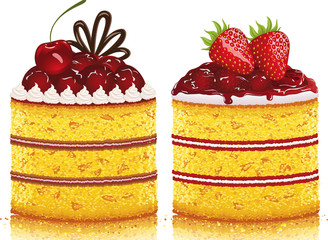 Cherry cake and a strawberry cake on white background