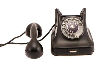 isolated black antique phone