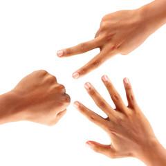 Hands making paper rock scissors