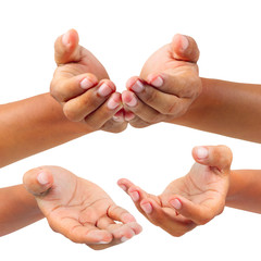 collection of Male hands holding