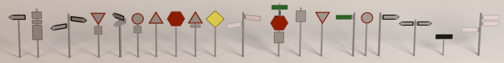 3d render of traffic signs