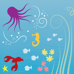 Various sea creatures underwater with lined background