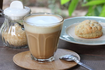 coffe with cookie background.