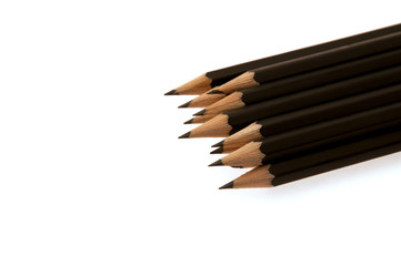 Stack of black graphite pencils