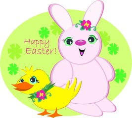 Happy Easter Bunny and Duck