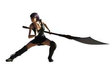 Fantasy female ninja with glaive