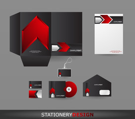 Red Arrow Stationery design set in vector format