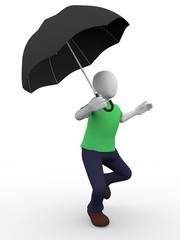 Umbrella man walking