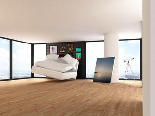 Penthouse über der Stadt mit sprigendem Bett