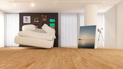 Penthouse mit schwebendem Bett
