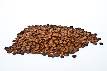 Coffee beans group isolated on white