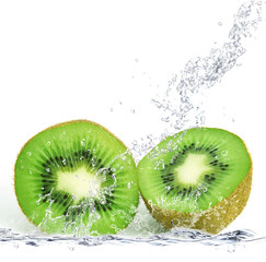 Photo sur Aluminium Eclaboussures d eau kiwi splash