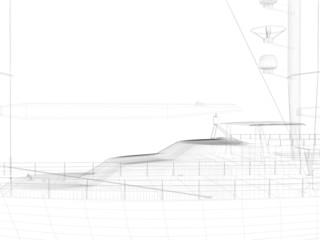 3D Illustration Zeichnung von einem Segelboot