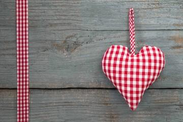 Country Style ein Herz aus Karostoff in Rot