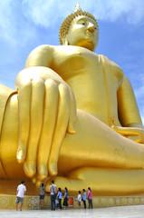 Buddha statue over scenic .