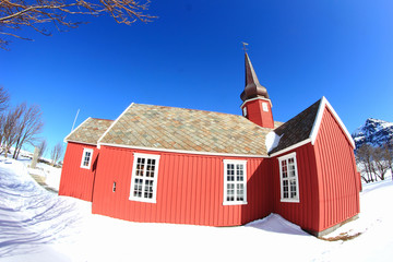 Lofoten's church of Flakstad in a sunny day