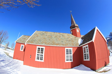 Red Lofoten's church in the snow