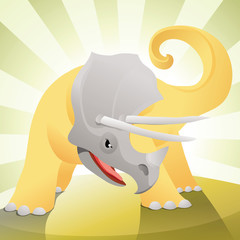 Angry triceratops ready to defend or fight
