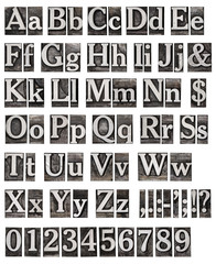 alphabet from old metal letters