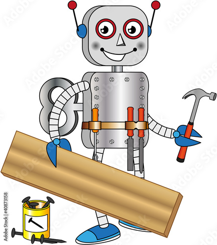 Robot With Tools For Working Wood Stock Image And Royalty Free
