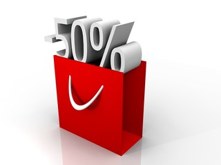 illustration of a red shopping bag and discount sign
