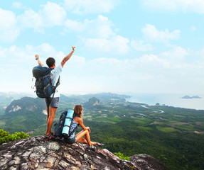 Tourists with backpacks