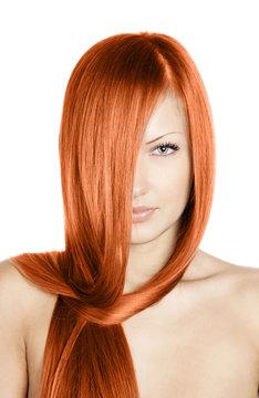 woman with long healthy natural hair