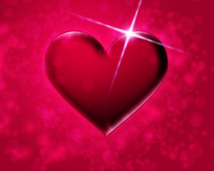 pink heart on a red background