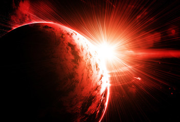 red planet with a flash of sun