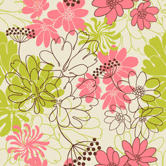 Canvas Prints Abstract Floral Vector background with hand drawn flowers. (Seamless Pattern)