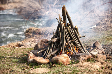 Closeup shot of camping fire