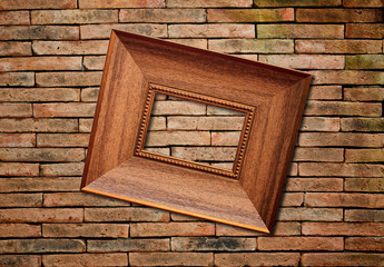 picture frame on brick wall background