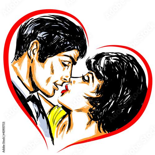 Portrait couple amoureux baiser coeur photo libre de droits sur la banque d 39 images - Coeur d amoureux ...
