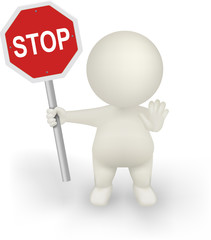 3d Man Vector holding STOP sign with halt hand gesture.