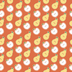 Vector seamless pattern of fruit - apple and pear