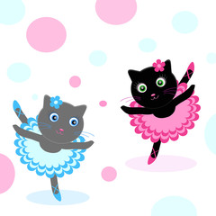 Door stickers Cats ballet-dancers