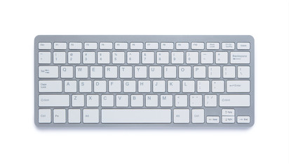 Modern aluminum computer keyboard with clipping path