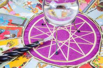 Tarot cards with the crystal ball and magic wand.