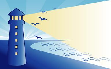Wall Murals Birds, bees Coast Lighthouse at dawn, seaside ocean landscape.